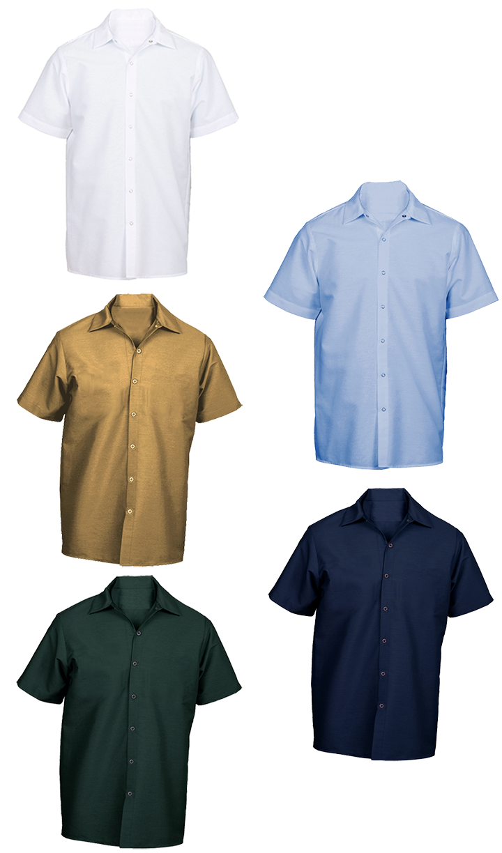Picture of Pocketless Wrinkle-Resistant Cotton Work Shirt (Short Sleeve-No Buttons)